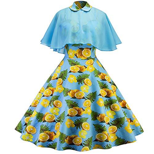 Reasoncool Damen Kleider Elegant Sommerkleid Abendmode Knielang Freizeitkleid atmungsaktiv Weinlese Partykleid Abschlussball Ballkleid Abendkleid Cocktailkleid(Blau,L) -