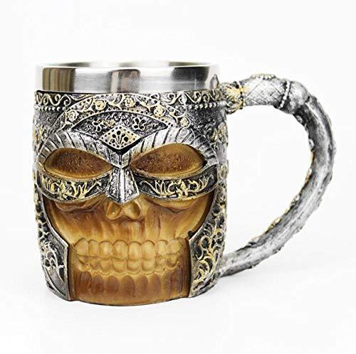 sse Edelstahl Schädel Becher Enthalten Viking Skeleton Tod Grim Knight Gothic Design Kaffee Bier Krug Becher Beste ()