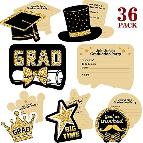 Blulu 2019 Abschluss Party Einladungen, 36 Stücke Abschluss Einladungskarten mit Umschlägen und Aufklebern - Abschluss Karten Feier Ankündigung Karten für Absolventen
