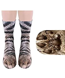 3D Funny Crazy Novelty Socks for Men Women, Shelers Women Man Adult Unisex Animal Paw Print Crew Socks Perfect Gift