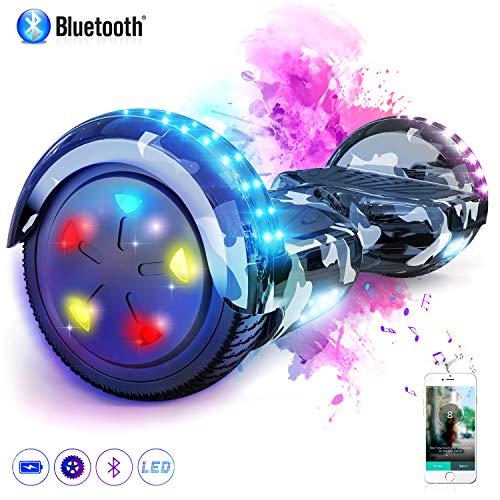 """MARKBOARD Patinete Eléctrico 6.5"""" Hoverboard con Luces LED, Flash Ruedas, Cinco Estrellas con Bluetooth, Scooter Monopatín Auto Equilibrio"""
