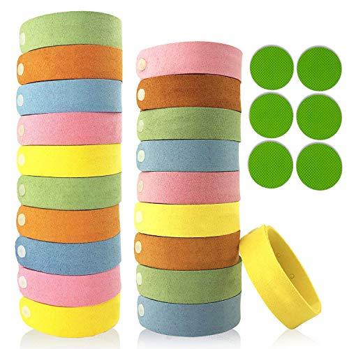 6 Stück-schlafzimmer-paket (Mückenschutz Armband, Mückenarmbänder Mücken Armband 100% natürlicher Pflanzenextrakt 20 Stück Moskito Geeignet für Erwachsene und Kinder für Camping Klettern Schlafzimmer Grillen + 6 Aufkleber)