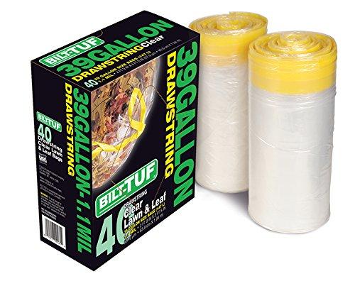 Presto Products Klar Trash Taschen 39Liter Rasen und Leaf Müllsäcken Kordelzug 40Zählen-bilt-tuf (Taschen Kordelzug Klar)