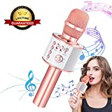 Ankuka Wireless Karaoke Microphones Speaker, 4 in 1 Handheld Portable Bluetooth Home KTV Player, Superior Audio Quality for Singing & Recording, Compatible with Android & iOS
