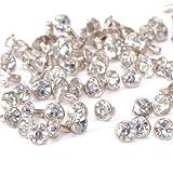 rivetto - SODIAL(R) 100pz chiodo fai da te con strass diamante rivetto brillante 7 millimetri argento