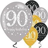 Feste Feiern Geburtstagsdeko Zum 90 Geburtstag | 6 Teile All In One Set Luftballons Gold Schwarz Silber Metallic Party Happy Birthday