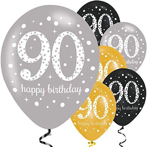 (Feste Feiern Geburtstagsdeko Zum 90 Geburtstag | 6 Teile All In One Set Luftballons Gold Schwarz Silber Metallic Party Happy Birthday)