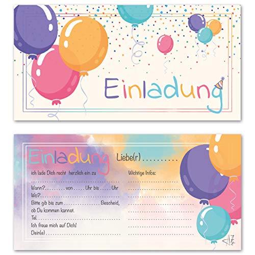 Any Age Art Luftballons 12 Einladungskarten - Kindergeburtstag Einladungen Kinder Mädchen Jungen Geburtstag Karten Feier Party Ballons (12 Einladungskarten) (1. Geburtstags-einladungen-mädchen)