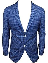 Alessandro Gilles Giacca Uomo Sartoriale 100% Made in Italy Blu Quadri  Casual in Cotone 6d7f205b809