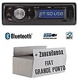 FIAT Grande Punto 199 - Autoradio Radio Caliber RMD020BT - Bluetooth | MP3 | USB | Einbauzubehör - Einbauset
