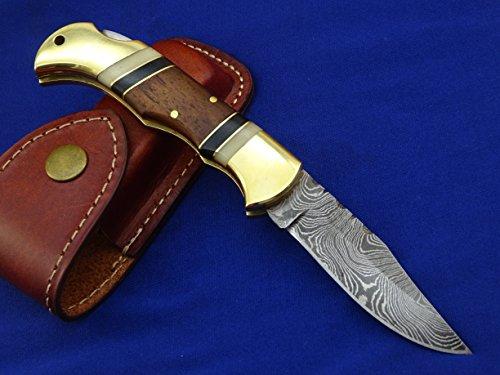 Handmade Besonders Taschenmesser mit edlem Griff und original Damastklinge-Damastmesser Taschenmesser Jagdmesser-Damast taschenesser- Klappmesser (S7)