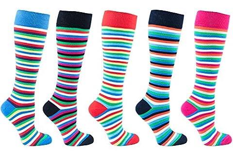 Socks n Socks - Women's 5-pair Striped Design Turkish Cotton
