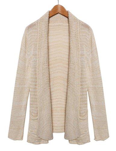 Norbert Morgan Donna Manica Lunga Maglia Fashion Outwear Casual Cappotto Tops Cardigan lavorato a maglia giacca, taglia unica beige