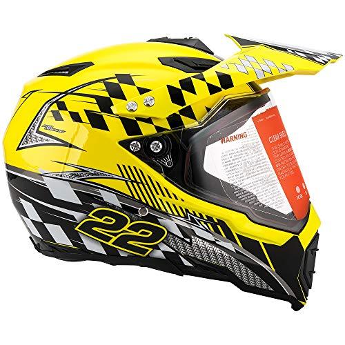 MOTORFANSCLUB Casco da Motocross per Fuori-Strada Moto Casco Cross Country D. O. T Certificazione Endurance Race ATV ATV Casco (XL Giallo)