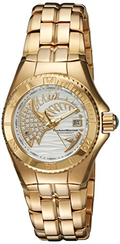 Technomarine Women's Quartz Watch with White Dial Analogue Display and Gold Stainless Steel Bracelet TM-115203