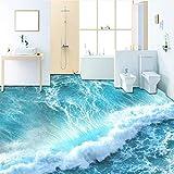 Wuyyii Benutzerdefinierte Selbstklebende Boden Wandbild Tapete Moderne Sea Wave 3D Bodenfliesen Aufkleber BadPvc FTapeten3 D-150X120CM