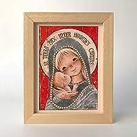 """Cuadrito""""Virgen Gótica Plateada"""", 15x20. Reproducción fine-art de la obra de Joan Ferrándiz"""