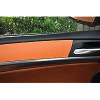 12 pz. Carbon arancione Rivestimenti Interni film in 3D Situato a 100 micron di spessore, pannelli delle portiere, consolle centrale, posacenere adatto per il vostro