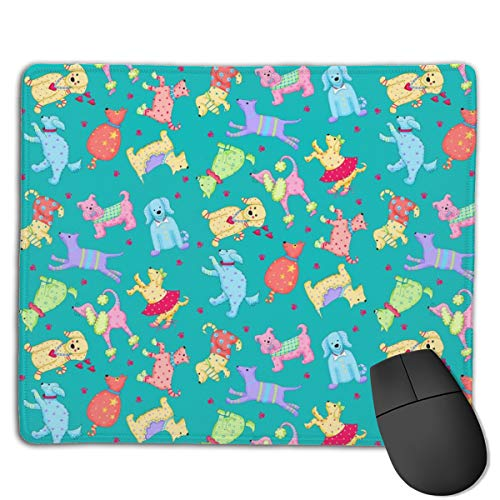 Wimsy Party Pups Turquoise Teal Green Computers Thick Keyboard Non-Slip Rubber Base Mouse pad Mat 7 X 8.6 inch