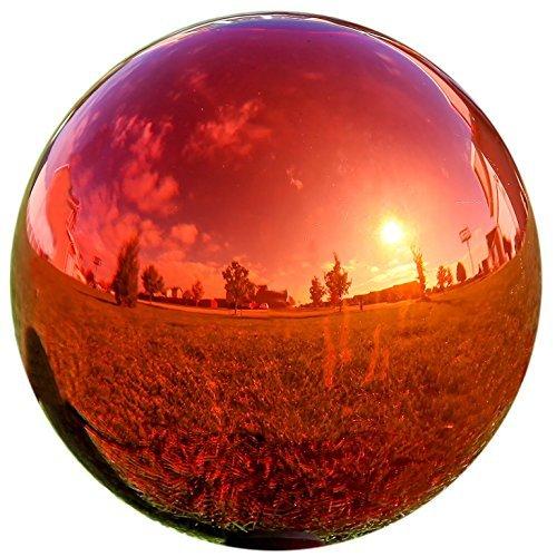 LilysHome Glas Gazing Ball Spiegel Ball Garten Ball in Rot 10 Rot -