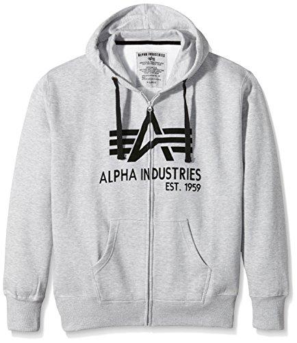 Alpha Industries Herren Sweatshirt Big A Classic Zip Grau (Grey Heather 17)