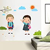 #9: Rawpockets Decal ' Back to School Boy and Girl ' (Material - PVC Vinyl Matte Finish, Wall Coverage Area - Height 90cm X Width 90cm) ( Pack of 1) Wall Sticker
