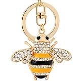 Qinglee Qinlee Schlüsselbund Mode Anhänger Kleine Biene Styling Anhänger Funkelnd Künstlicher Diamant Inlay Schlüsselbund Anhänger Rucksack Handtasche Zubehör Auto Anhänger (Gold)