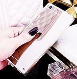 Coque pour Huawei P8 Lite, Miroir miroir Housse Coque Silicone TPU pour Huawei P8 Lite, Surakey Elegant Cool Bling Briller étincellement Coloré Diamond Rose Or Coque Effet Miroir Etui TPU Téléphone Coque Coquille de protection Flex Soft Gel en Caoutchouc Bumper Shockproof Anti Scratch Housse Rigid Back Cover pour Huawei P8 Lite , Argent