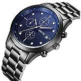 billig Mens-analoge Quarz-Luminous Armbanduhr-Geschäfts-Art Kratzfestes Gesicht Kalendertag Fenster Untiwear Edelstahl-Schwarz-Armband (blau Hand)