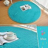 Morbuy Tapete Redondo Felpudos Alfombra 60CM/80CM/100CM Hogar Antideslizante Alfombras Piso Moqueta Mats Pad para Habitación Lavable Decorativo Suave Superficie (100cm, Azul)