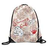 GONIESA Fashion Unisex Gym Bag Creative Design Simon's Hungry House Cat Drawstring Backpack Sport Bag for Men and Women