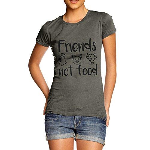 Twisted Envy Damen Friends nicht Food komisch, 100% Baumwolle T-Shirt, Rundhalsausschnitt, bequeme und weiche klassische Tee mit einzigartigem Design Gr. X-Large, khaki (Tee T-shirt Design-khaki)