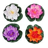 Set di 4diversi colori artificiali fiore di loto ninfea galleggiante per home decor per laghetti da giardino, piccolo