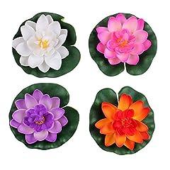 Idea Regalo - Set di 4fiori di loto di piccole dimensioni con ninfea galleggiante, artificiali, di 4 colori, per decorare casa e laghetti da giardino
