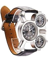 Exhibición militar deportivo cuarzo reloj reloj de pulsera cuero nergo correa de 3 hombres veces