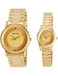 Sonata Analog Champagne Dial Couple's Watch -NK10138925YM01