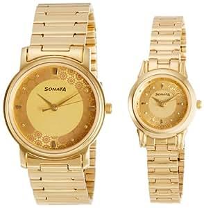 Sonata Analog Champagne Dial Couple's Watch - 10138925YM01