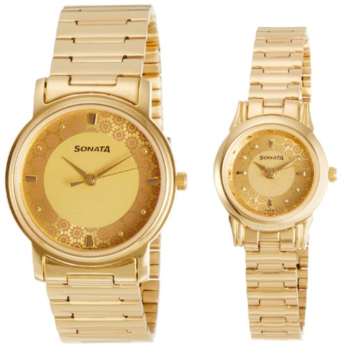 51JklZUeL2L - Sonata 10138925YM01 Champagne Couple watch