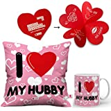 Indigifts I Love My Hubby Ceramic Coffee Mug with Micro Satin Cushion Cover and Filler(Pink and White)