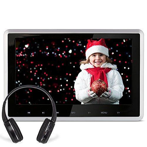 DDAUTO DD101HDS 10,1 Zoll Kopfstützenmonitor HD Kopfstütze Monitor LCD Bildschirm Touch-Taste Auto DVD Player Kfz Multimedia Player 1080P HDMI FM AV Funktion mit IR Kopfhörer