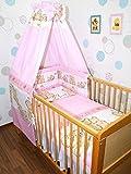 Baby Bettset -6 tlg- mit Bettwäsche Nestchen Vollstoff Himmel Bettausstattung D3