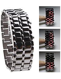 fenkoo Digital LED reloj de pulsera para mujer estilo lava, correa de metal