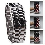 Fenkoo Digitale LED Armbanduhr für Damen im Lava Stil, Metallarmband