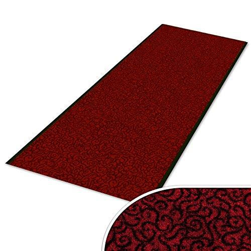 Schmutzfangläufer mit Schnörkelmuster | viele Längen | Qualitätsprodukt aus Deutschland | als Flurläufer, Küchenläufer, Teppichläufer etc. | Läufer in Rot (90 x 250 cm)