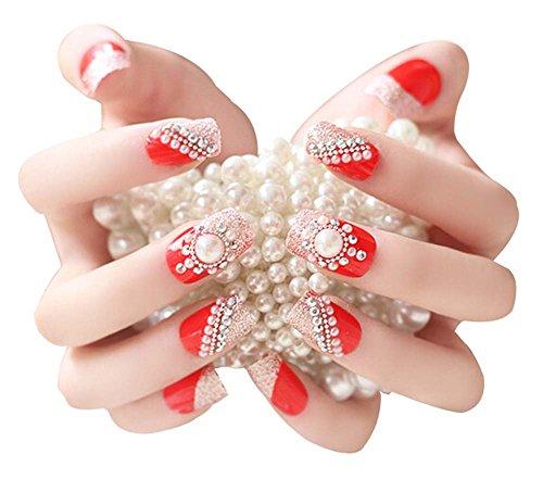 2 Boîtes(48 Pièces)3D mariage faux ongle/Beau style faux ongle, Rouge