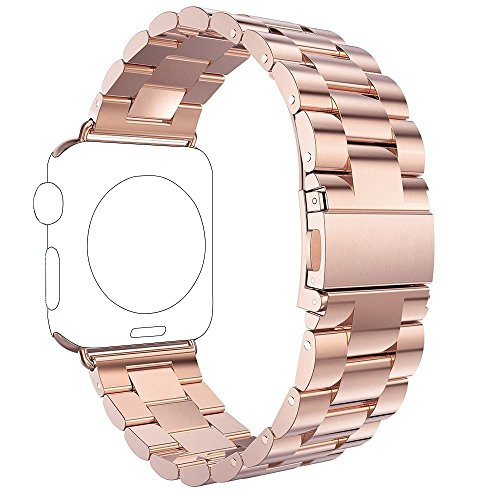 Für Apple Watch Armband 38mm Rose Gold, Rosa Schleife Edelstahl Metall Apple iWatch Armband Uhrenarmband Replacement Strap mit Metallschließe für Apple Watch Series 4 3 2 1 Sport & Edition 38mm 40mm Metall Apple