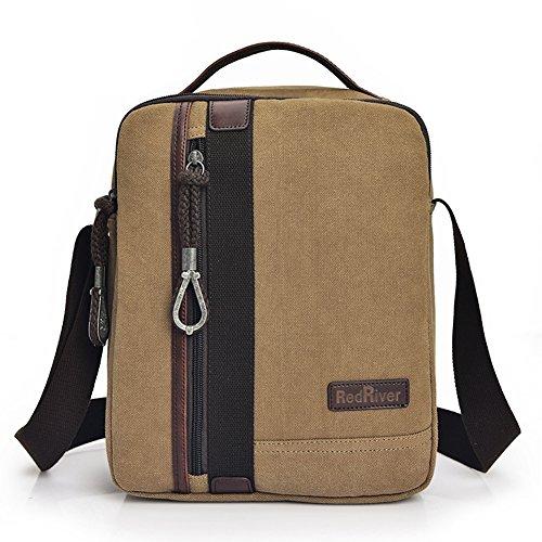 HongyuTing Herren Vintage Canvas Schultertasche Umhängetasche Retro Messenger Bag für Schule, Büro, Lässige khaki