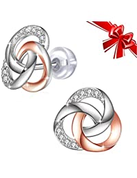 J.Rosée Pendientes, Plata de Ley 925 [La Vida en Rosa], Regalos Navidad, 5A Circón con Caja Hermosa Regalo
