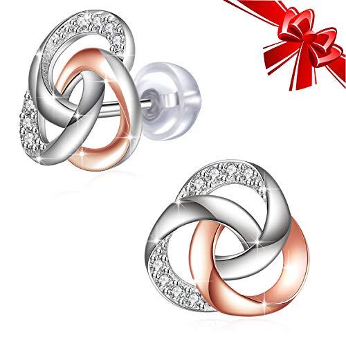 Pendientes Mujer, J.Rosée Pendientes de oro rosa Plata de Ley 925 Circón [Nunca Separar], Regalos Navidad