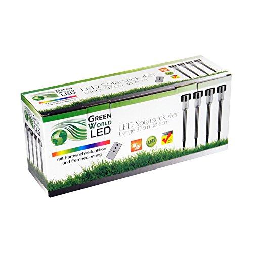 Solar Stick Edelstahl mit Farbwechsel und Fernbedienung, 4er